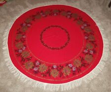 "Vtg Christmas 60"" Round Red Gold Black Tablecloth Poinsettia Pinecone Fringe"