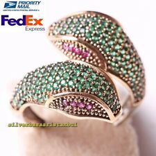 Handmade 925 Sterling Silver Emerald and Ruby Stone Snake Ladies Womans Ring