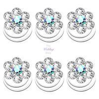 Bridal Wedding Prom Silver Crystal Flower Hair Coils Spirals Twists Pins HP15