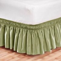 Elastic Bed Skirt Dust Ruffle Easy Fit Wrap Around Sage Green Color Twin Size