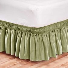 Elastic Bed Skirt Dust Ruffle Easy Fit Wrap Around Sage Green Color King Size