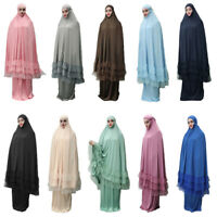 2 Piece Women Prayer Hijab Dress Dubai Muslim Khimar Jilbab Overhead Abaya Cloth