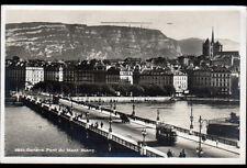 GENEVE (SUISSE) TRAMWAY Electrique sur PONT du MONT BLANC en 1932