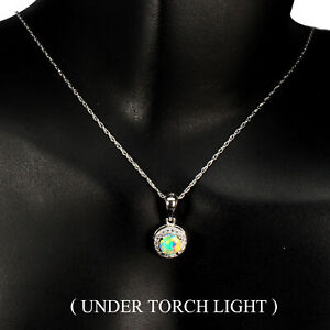 Unheated Round Fire Opal Hot Rainbow Luster 5mm Cz 925 Sterling Silver Necklace
