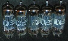 5 PIECES RCA 6CG7 / 6FQ7 3 BLACK PLATE LARGE D GETTER TUBES WORKS NOS EXCELLENT