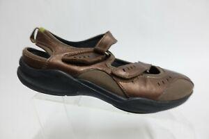 CLARKS PRIVOS Leather Brown Sz 9 W Wide Women Sport Sandals