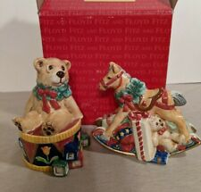 Fitz And Floyd Old Fashioned Christmas Salt & Pepper Shakers-Horse/Bear