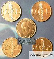 // Lote 5 monedas de 50 centimos peseta 1966 *68 SC \