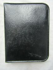 Vintage Black Leather Zipped Writing Case / Wallet