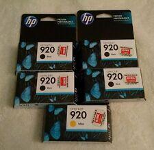 NISB Genuine HP 920 Ink Printer Cartridges Lot 4 black 1 yellow  $tock up $ave