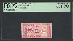 Mongolia 10 Mongo ND(1993) P49 Uncirculated Graded 67