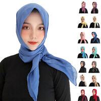 Fashion Muslim Women Large Square Scarves Shawls Wrap Head Scarf Plain Stole