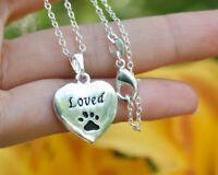 Loved Necklace Paw Print Pendant Cat Dog Pet Memorial Gift Silver Chain Beloved