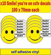 Pack of 10 Smile! You're On CCTV warning Vinyl Security stickers Label decals