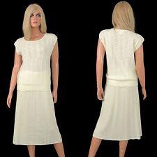 Vintage 70s 80s SKIRT SUIT Ivory Sweater Knit Outfit Pencil Mod Secretary Dress