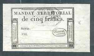 RARE MANDAT TERRITORIAL MONVAL 5 FRANCS TTB
