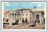 Memorial Continental Hall Columns Street View Vintage Washington DC Postcard A80