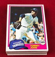 Lot of 30 Cards 1981 Topps Tommy John Baseball Card # 550  RG1