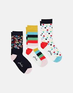 Joules Womens 215908 3 Pack Socks - Navy Circus - Adult 4-8