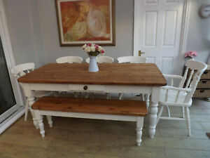 Farmhouse Bench In Table Chair Sets For Sale Ebay