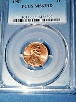 1981 1C RD Lincoln Memorial Cent-PCGS MS63RD--484-1