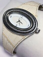 Ecclissi Watch 925 Sterling Silver 22940 Oval Case Antique White Leather Band Ne