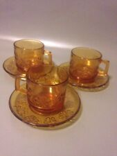 Vereco French Amber Glass Floral Design Mid Century Coffee Cups And Saucers X3