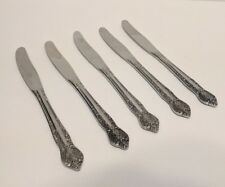 "Kimco K104 Set of 5 Stainless Steel Dinner Knives 8 1/4"" Flatware Floral Japan"