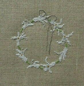 Stickbild -Kreuzstich-point de croix- C.Dahlbeck -Fremme-Garn-Leinen-Blütenkranz