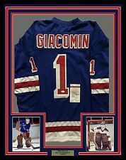 Framed Autographed/Signed Eddie Giacomin 33x42 Ny Rangers Blue Jersey Jsa Coa