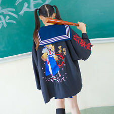 Japanese Harajuku Fashion Gothic Lolita Embroidery Loose Kimono Bathrobe Coat