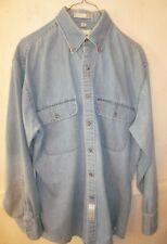 Men's Geoffrey Beene Unbuttoned blue denim 100% cotton shirt size 15.5  32/33
