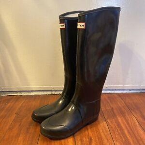 Hunter Rain Boots Regent Smooth Gloss Black Size US 7 M / 8 F EUC