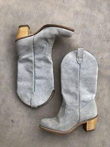 Vintage Wolverine Women's 7.5 Cowboy Boots Gray Suede Nubuck Leather Western