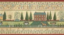 Americana Alphabet Sampler Wallpaper Border