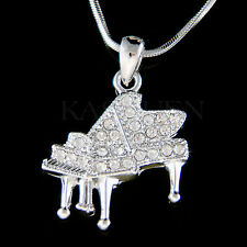 w Swarovski Crystal MUSIC Baby Grand Piano Musican Jewelry Charm Necklace New