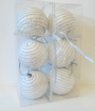 6 Gorgeous White Hanging Xmas Tree Balls Baubles Silver Bling Christmas Ornament