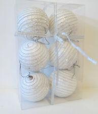 6 splendidi bianco da appendere ALBERO NATALE PALLINE NINNOLI Argento Brillante Natale Ornamento