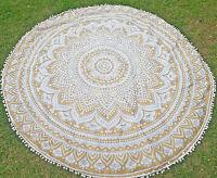 Hippie Indian Mandala Round Roundie Beach Ombre Throw Rug Boho Tapestry Yoga Mat
