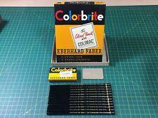 RARE - Eberhard Faber Colorbrite - BLACK 2129 w Metal Ferrule with GOLD Stripe!