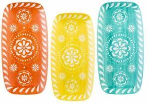 Set of 3 Melamine Serving trays Drip Trays Multi Coloured Trays New