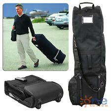 Golf Club Bag Travel Cover Heavy Protector Guard Carry Black Rolling Wheels Case