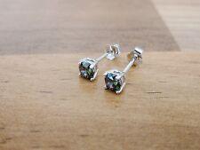 925 Sterling Silver - Mystic Topaz Round CZ Cubic Zirconia Stud Earrings