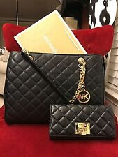 NWT MICHAEL KORS LEATHER SUSANNAH LARGE TOTE BAG + ASTRID WALLET IN BLACK/GOLD