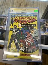 """Amazing Spider-Man #129 1974 MARVEL 1st Punisher CGC 3.5 SS """"Ruined"""" By Stan Lee"""