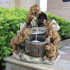 Labrador Puppies Drinking Barrel Basin Garden Fountain w/ LED Light Kit & Pump