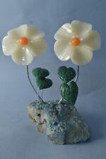 Flores Onyx y serpentina escultura de piedra flor 416g