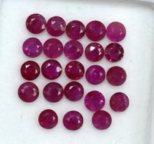 Natural Ruby Round Cut 3 mm Lot 10 Pcs 1.29 Cts Red Shade Untreated Loose Gems
