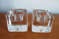 Orrefors 2 Nordic Light Candle Holders Crystal Ice Cube Label Signed Sweden