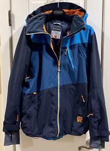 Men's Atomic Hooded Treeline 2L Flex Jacket Blue W/Orange Trim Size M $475!